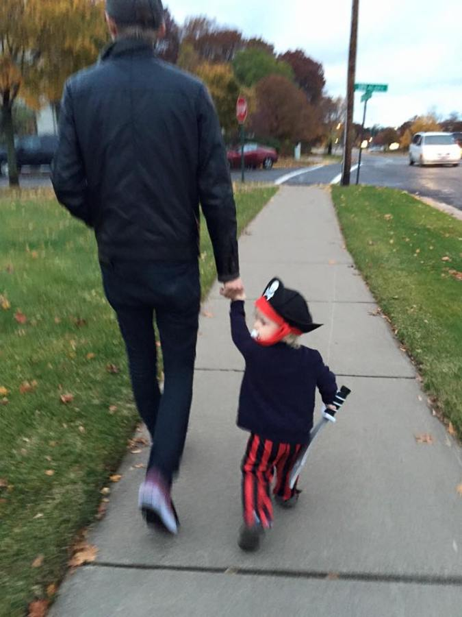 A tiny pirate searching for looking for Booty with his daddy. Timothy .